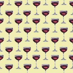 Watercolor wine glass pattern