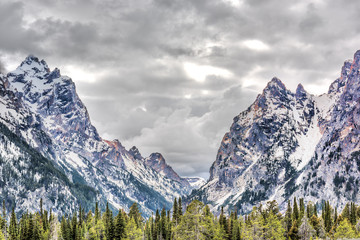 Grand Teton mountains in Wyoming national park with cloudy storm