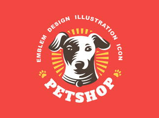 Dog head logo - vector illustration, emblem on red background
