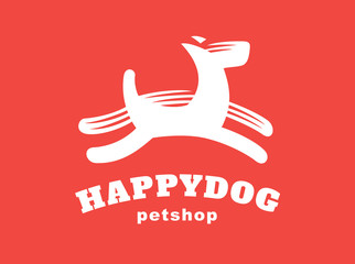 Dog logo - vector illustration, emblem on red background