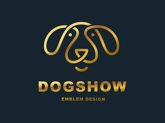 Dog head logo - vector illustration, emblem on dark background