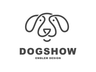 Dog head logo - vector illustration, emblem on white background