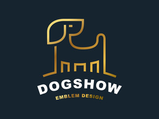 Golden dog logo - vector illustration, emblem on dark background