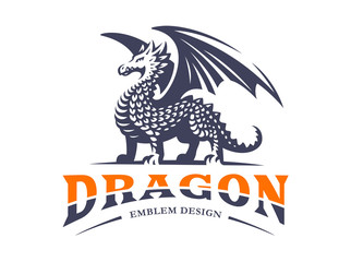 Dragon logo - vector illustration, emblem on white background