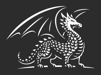 Dragon vector illustration, emblem on dark background