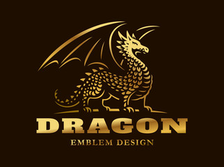 Golden dragon logo - vector illustration, emblem on dark background
