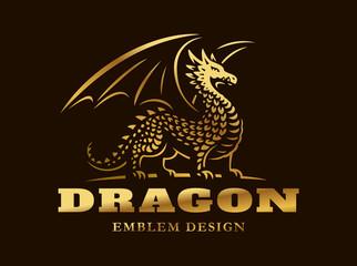 Golden dragon logo - vector illustration, emblem on dark background