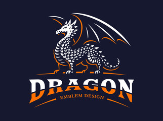 Dragon logo - vector illustration, emblem on dark background