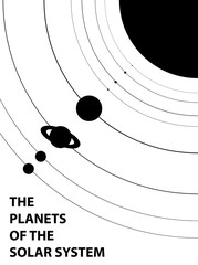 Poster of the planets of the solar system - isolated vector illustration
