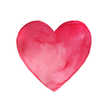 Vector Illustration of a Pink Watercolor Heart. Valentines Day Design.