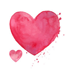 Vector Illustration of Pink Watercolor Hearts. Valentines Day Greeting Card Design.
