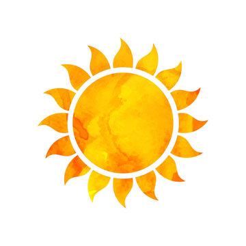 Vector Illustration of a Watercolor Sun. Summer Design.