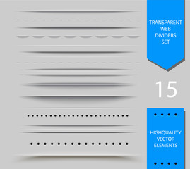 Set of semitransparent web dividers and shadow isolated on light background. Vector translucent delimiter effect illustration