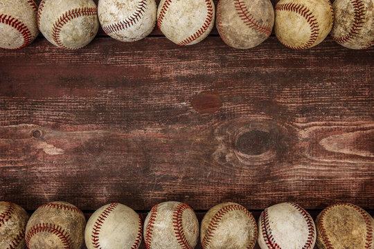 Old Vintage Baseball Background. Focus in center