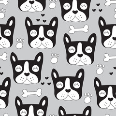 seamless french bulldog pattern vector illustration
