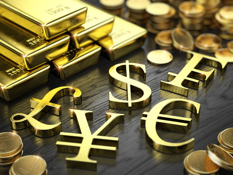 Finance, Stock exchange concept - Gold bars, coins and gold currency signs. 3d illustration