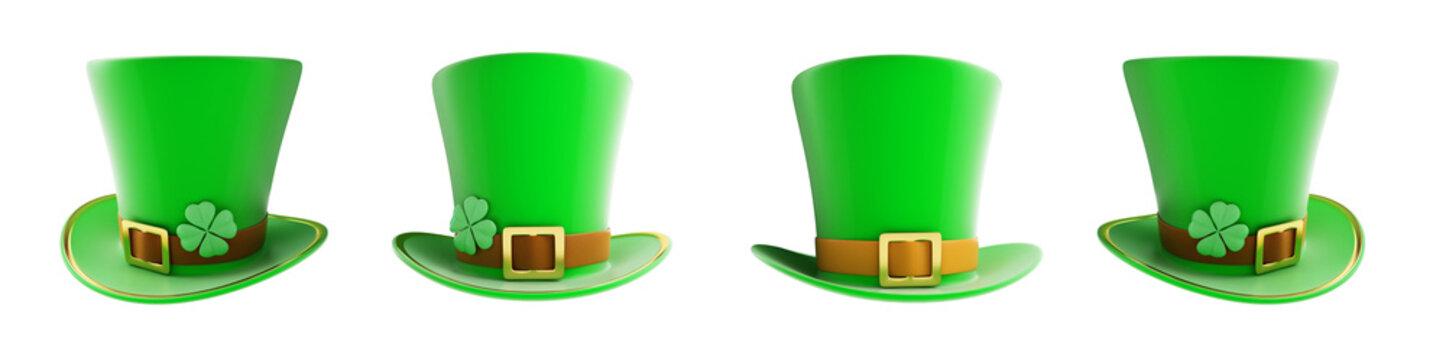 Set St. Patrick's day green hat 3D illustration on a white background