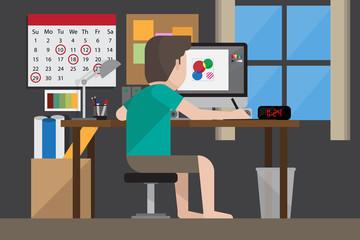 Freelance Graphic Designer Working at Home, Vector Illustration