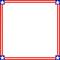 Patriotic square American symbols of the frame with empty space for your text and images.