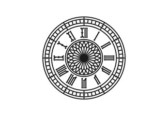 Old style clock with roman numerals. Vector illustraion