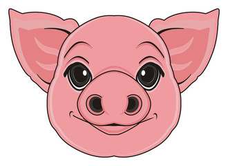 animal, cartoon, spanking, pig hooves, oink, snout, pink, fat, farm, pig, little, agriculture, piggy, happy, smiling, muzzle, face