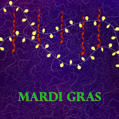 Mardi Gras colorful background with garland
