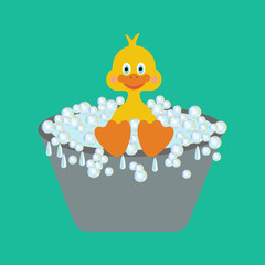 Duckling takes a bath