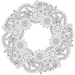 Floral doodles wreath in zentangle style. Vector circle frame ma