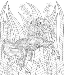 Hand drawn zentangle horse in grass and flowers for adult anti s