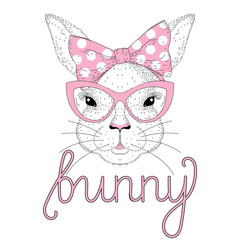 Vector cute bunny girl portrait with pink pin up bow tie on head