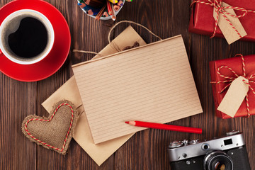Gifts, camera, coffee and notepad for your text