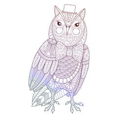 Zentangle Owl painting for adult anti stress coloring page, colo