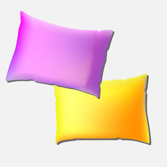 Pillows of assorted colours illustration. on white background. Vector template ready for your design. vector illustration