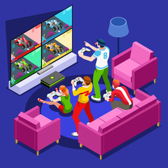 Multiplayer video game screen and gamer person gaming online with console controller android phone or computer. 3D Isometric People icon set. Creative design vector illustration collection