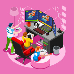 Video game screen and gamer person playing online with console controller android phone or computer. 3D Isometric People icon set. Creative design vector illustration collection
