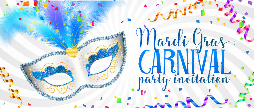 White Mardi Gras banner template with blue carnival mask with feathers