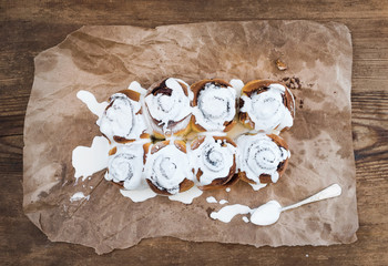 Cinnamon rolls with cream cheese icing.