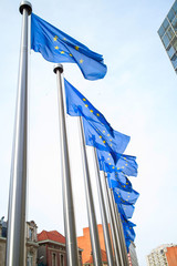Wall Mural - Flags in front of the EU Commission building