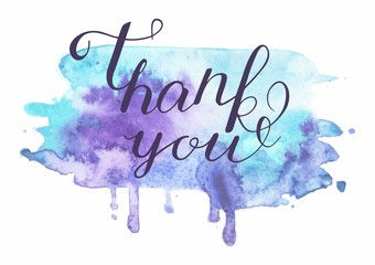 Vector inscription on blue grunge watercolor stain background - Thank you.