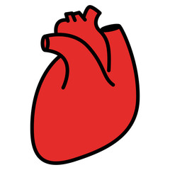 Red human heart. Linear thin line vector illustration