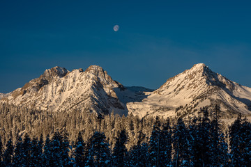 Rocky winter mountains with moon and forest