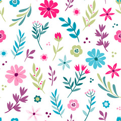 Cute hand drawn floral seamless pattern. Vector illustration