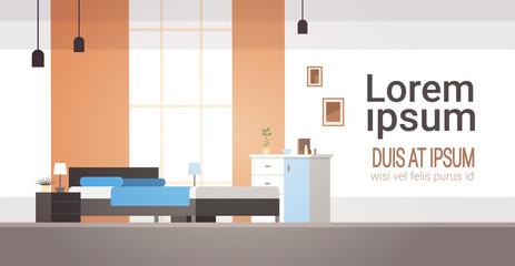 Bedroom Interior Home Modern Apartment Design Flat Vector Illustration