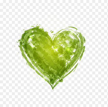 Green grunge heart. Greenery - color of the year 2017
