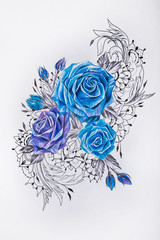 Sketch of beautiful blue roses on a white background.