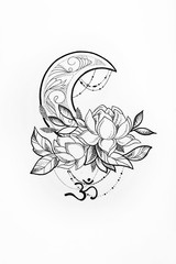 Sketch of a lotus and moon on white background.
