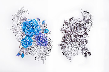 Sketch two sets of roses on a white background.