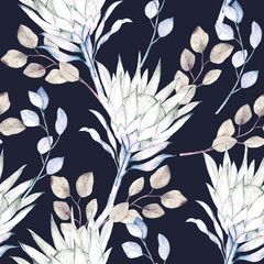 Watercolor african protea and eucalyptus leaves pattern. Seamless floral print