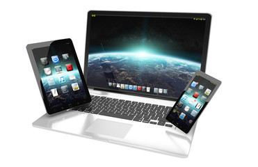 Laptop mobile phone and tablet connected to each other 3D render