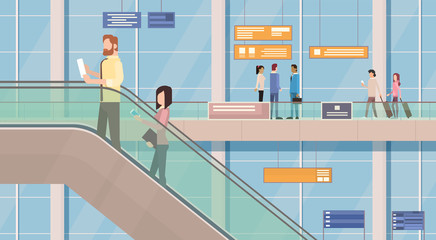 People Passengers Airport Hall Departure Terminal Interior Moving Staircase Flat Vector Illustration